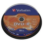 Диск DVD Verbatim 4.7Gb 16X CakeBox 10шт (43523)