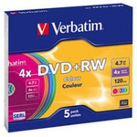 Диск DVD Verbatim 4.7Gb 4x SlimCase 5шт Color (43297)