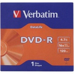 Диск DVD Verbatim 4.7Gb 16X Jacket 1 pcs DATA LIFE (43844-поштучно)
